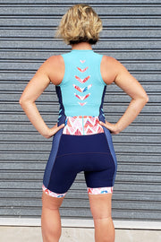 Summer Chevron Zip Tri Suit