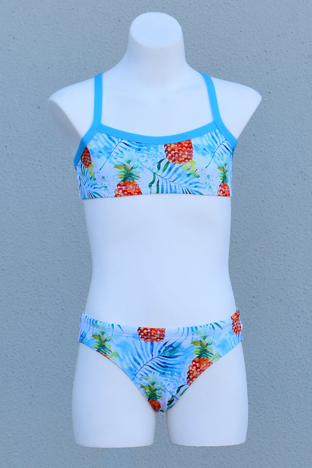 Girl's Watercolour Pineapples Cross Back Bikini