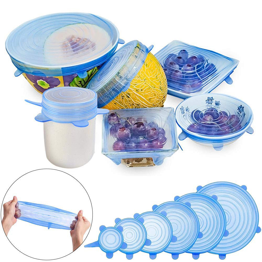 6 items universal silicone covers for fruits and dishes