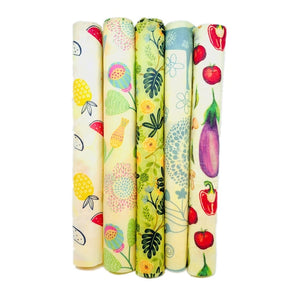 Reusable Beeswax Food Wraps and Silicone Food Storage Containers Set