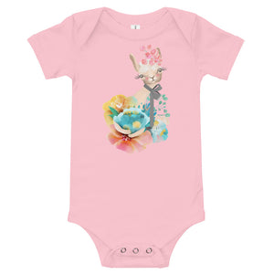 Pastel Flowers and Kitty Cat Baby One Piece Kitten Bodysuit Infant Tee Shirt