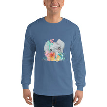 Baby Elephant and Pastel Flowers Men's Long Sleeve T-Shirt