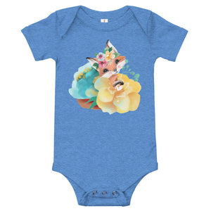 Pastel Flowers and Baby Fox Infant One Piece T-Shirt