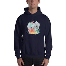 Baby Elephant and Pastel Flowers Men's Unisex Hooded Sweatshirt