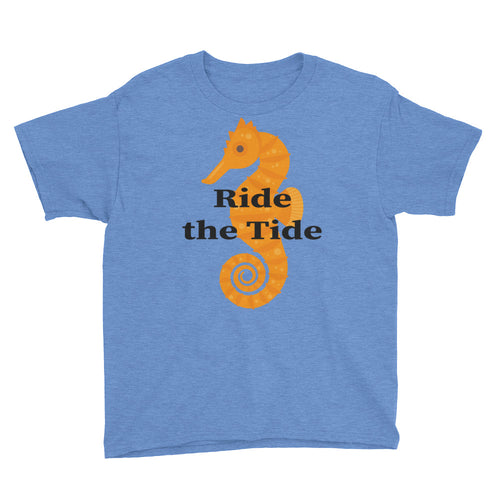 Seahorse with Ride the Tide Youth Short Sleeve T-Shirt