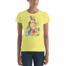 Baby Deer Fawn and Pastel Flowers Women's short sleeve t-shirt
