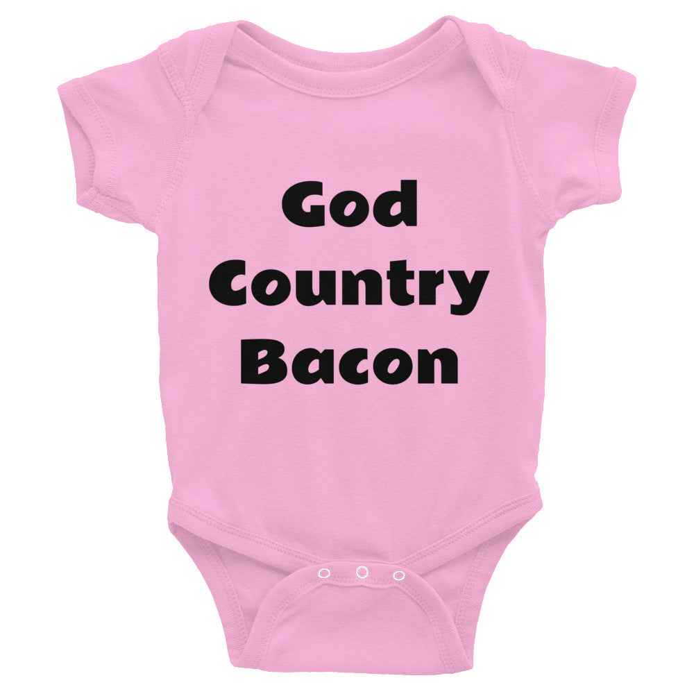 God, Country, Bacon T-shirt in men's, women's, unisex, youth, and infant sizes.  Many colors and styles.