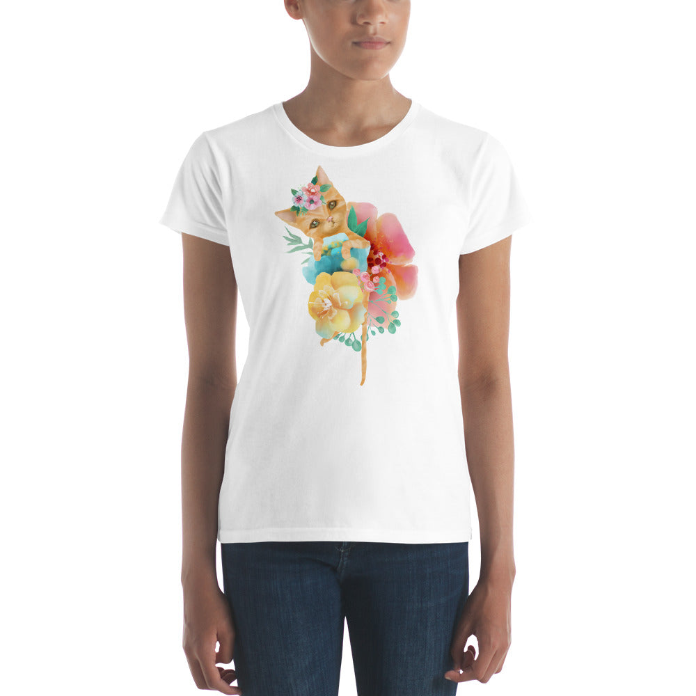Kitty Cat and Pastel Flowers Women's short sleeve t-shirt