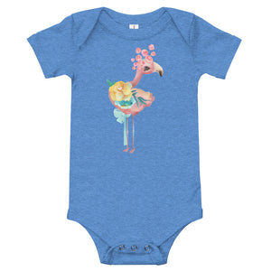 Pink Peacock and Pastel Flowers Infant One Piece T-Shirt