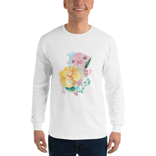 Pastel Flowers and Silly Pig with Hair Bow Men's Long Sleeve T-Shirt