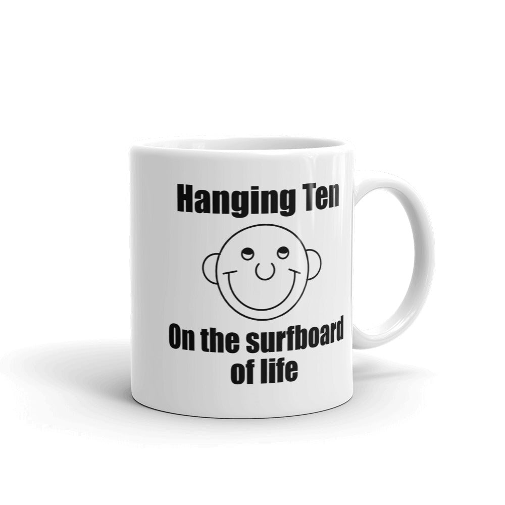 Hanging Ten on the Surfboard of Life Coffee Mug with the Round Head Guy