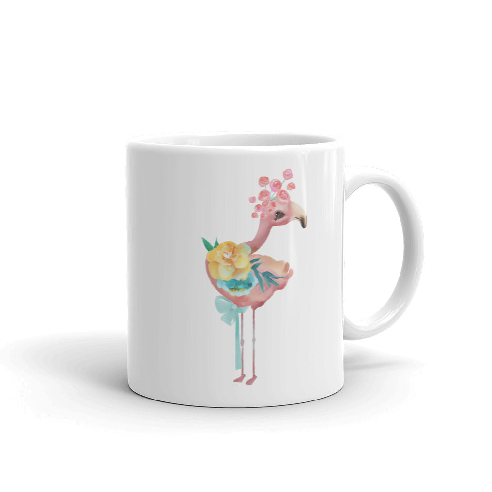 Pink Peacock and Pastel Flowers Mug