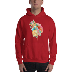 Kitty Cat and Pastel Flowers Men's Unisex Hooded Sweatshirt