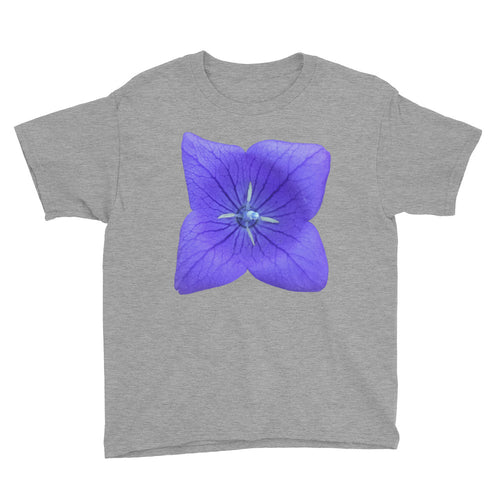 Blue Balloon Flower Youth Short Sleeve T-Shirt - Mr. Shazz