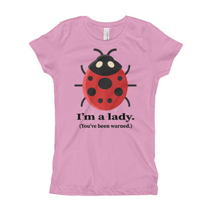 I'm a Lady You've been Warned Cute Ladybug Girl's T-Shirt