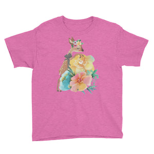 Baby Deer Fawn and Pastel Flowers Youth Short Sleeve T-Shirt
