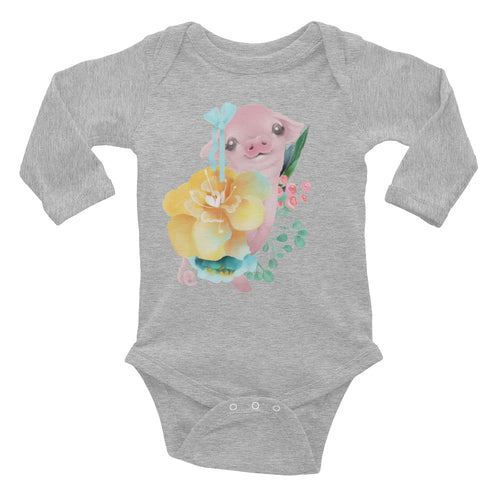 Pastel Flowers and Silly Pig with Hair Bow Infant One Piece Cute Long Sleeve Bodysuit