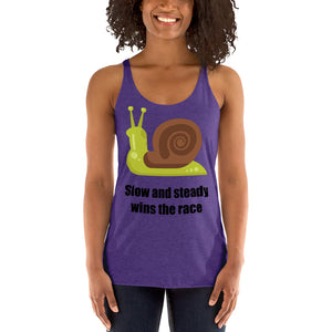 Snail with Slow and Steady Wins the Race Ladies' Tank Top