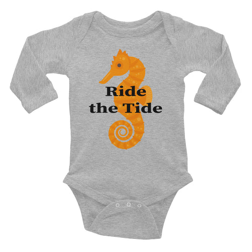 Seahorse with Ride the Tide Infant Long Sleeve Bodysuit