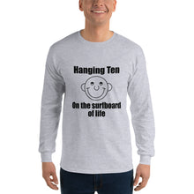 Hanging Ten on the Surfboard of Life Long Sleeve T-Shirt With the Round Head Guy