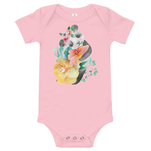Soft Pastel Flowers and Cute Panda Bear Infant One Piece Piglet Flower Baby Bodysuit