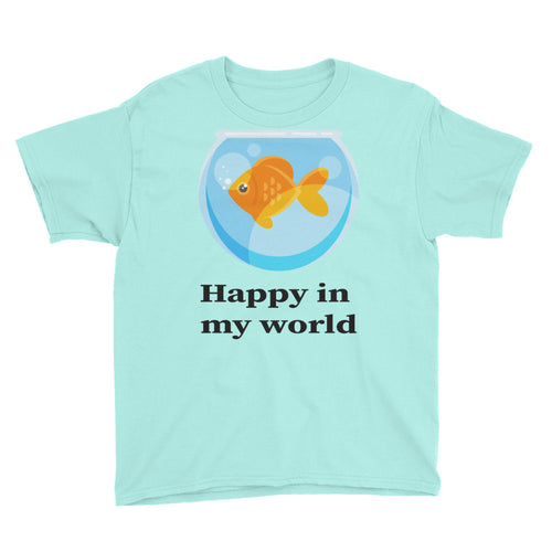 Happy in my World with Goldfish Youth Short Sleeve T-Shirt