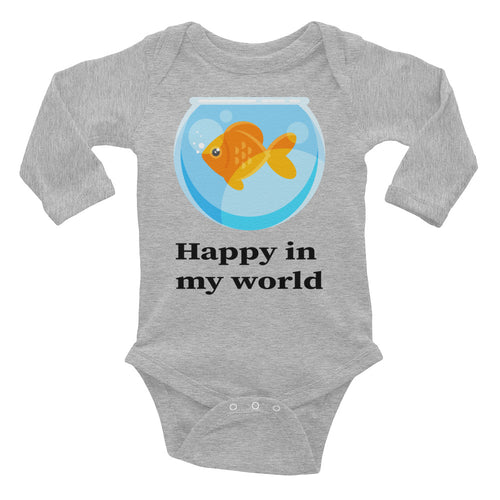 Happy in my World cute Infant Long Sleeve Bodysuit