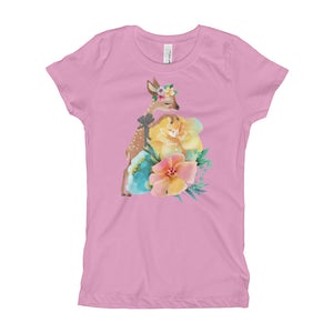 Baby Deer Fawn and Pastel Flowers Girl's T-Shirt