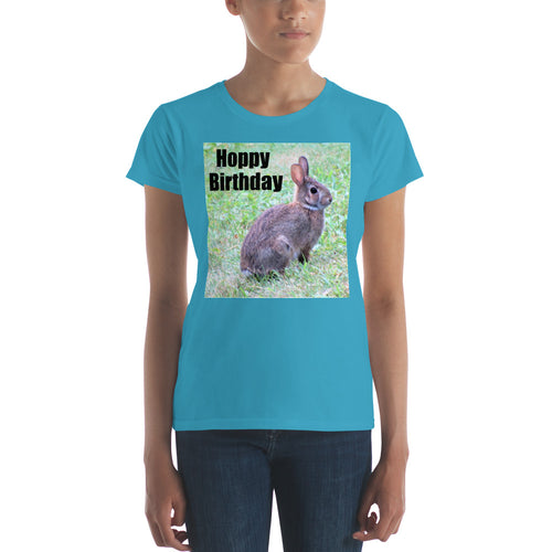 Hoppy Birthday Rabbit Women's short sleeve t-shirt Bunny Shirt