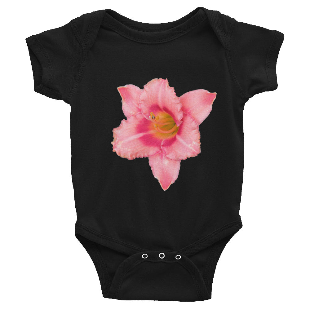 Blazing pink lily bodysuit for infants.  This design is also on our clothing for men, women, and children.  Many colors, styles, and sizes.