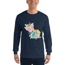 Soft Pastel Flowers and Cute Pig Men's Long Sleeve Piglet Men's T-shirt Flower Long Sleeve T-Shirt
