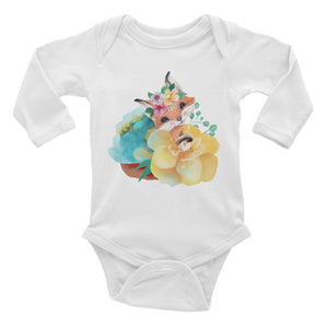 Pastel Flowers and Baby Fox Infant One Piece Long Sleeve Bodysuit