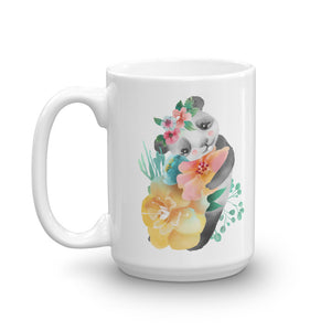 Soft Pastel Flowers and Cute Panda Bear Coffee Mug Piglet Flower Soup Mug