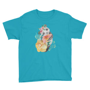 Soft Pastel Flowers and Cute Panda Bear Youth Shirt Piglet Flower Youth T-Shirt