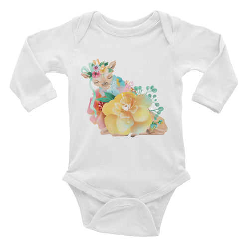 Pastel Flowers and Deer Fawn Baby One Piece Baby Deer Infant Long Sleeve Bodysuit