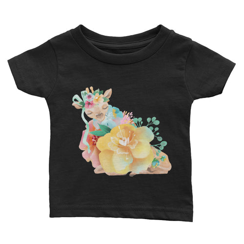 Pastel Flowers and Deer Fawn Baby shirt Baby Deer Infant Tee