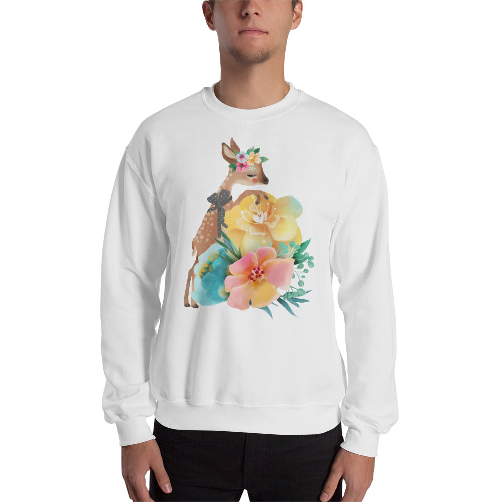 Baby Deer Fawn and Pastel Flowers Men's Unisex Sweatshirt