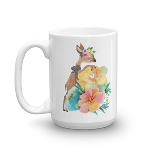 Baby Deer Fawn and Pastel Flowers Mug