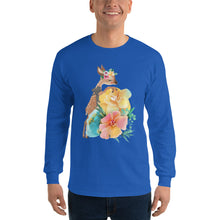 Baby Deer Fawn and Pastel Flowers Men's Long Sleeve T-Shirt