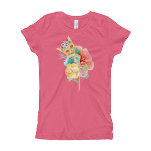 Kitty Cat and Pastel Flowers Girl's T-Shirt