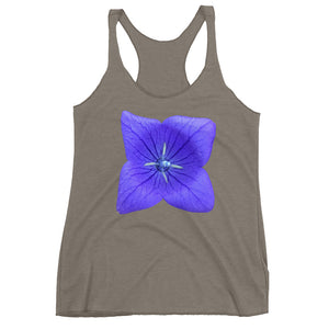 Blue Balloon Flower Ladie's Racerback Tank Top Many Colors and Sizes - Mr. Shazz