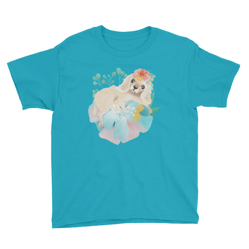 Puppy Dog with Long Ears and Pastel Flowers Youth Short Sleeve T-Shirt