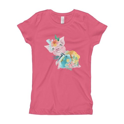 Soft Pastel Flowers and Cute Pig tee Piglet Flower Short-Sleeve Girl's T-Shirt