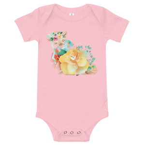 Pastel Flowers and Deer Fawn Baby One Piece Baby Deer Infant Bodysuit