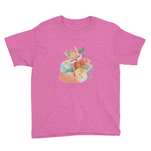 Cute Fox and Pastel Flowers Youth Short Sleeve T-Shirt