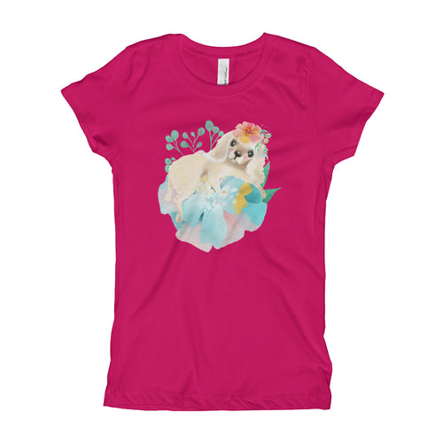 Puppy Dog with Long Ears and Pastel Flowers Girl's T-Shirt