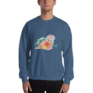 Pastel Flowers and Cute Puppy Dog Men's Unisex Sweatshirt