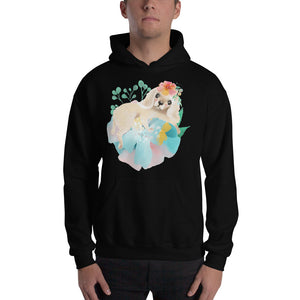Puppy Dog with Long Ears and Pastel Flowers Men's Unisex Hooded Sweatshirt