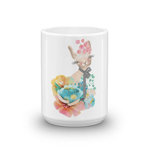 Pastel Flowers and Kitty Cat Mug Kitten Coffee Mug