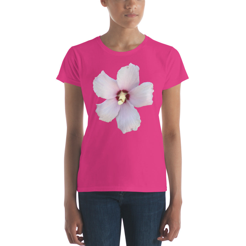 Rose of Sharon Flower t-shirt ladies also available in men's, unisex, youth, and infant.